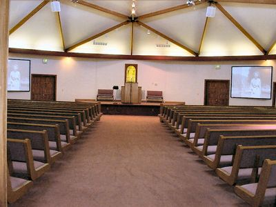 Our spacious chapel seats 500 with large projection screens for video and slide presentations